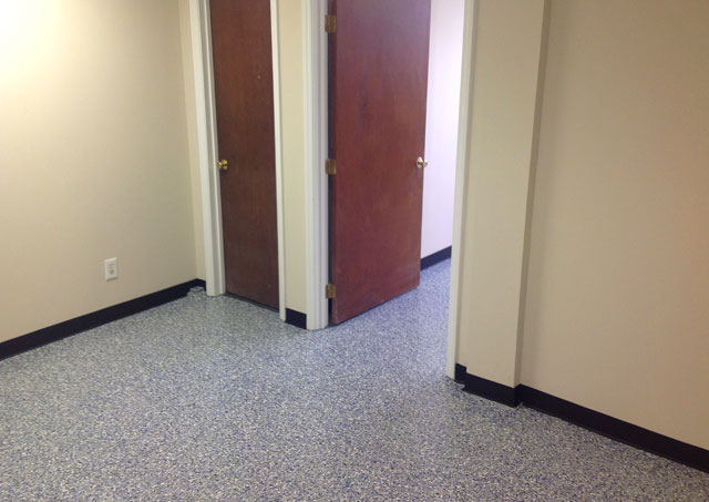 Electric Blue Flake Epoxy Floor In Raleigh Nc By Witcraft