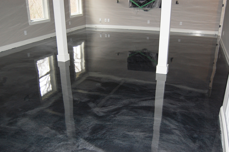 basement man cave with metallic floor in clayton nc by witcraft